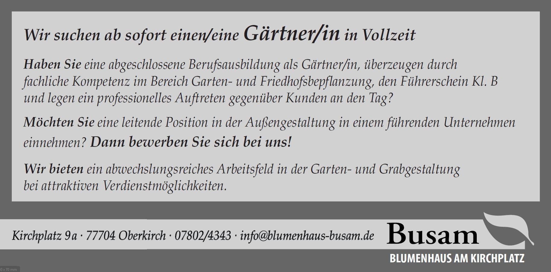 Gärtner Stellenangebot Oberkirch