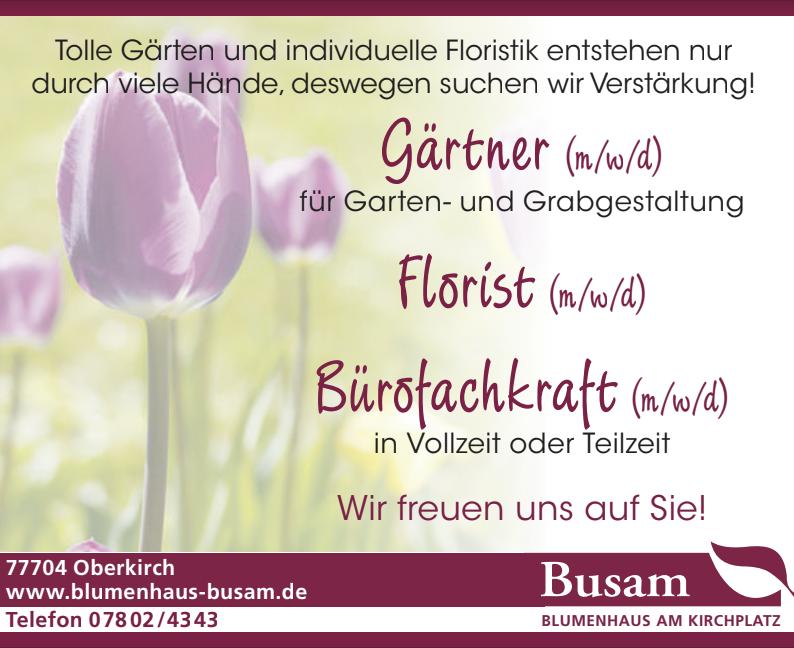 Offene Stellen Blumenhaus Busam